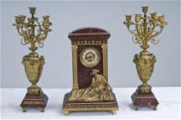 458 FRENCH DORE BRONZE AND ROUGE MARBLE THREEPIECE CL
