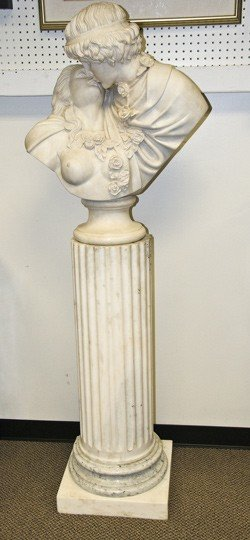 17: CARVED MARBLE BUST OF AN AMOUROUS COUPLE