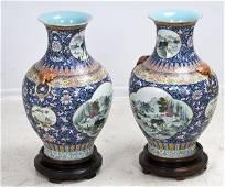 49: PAIR OF CHINESE POLYCHROME PORCELAIN VASES
