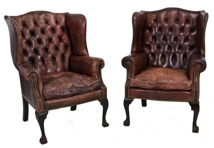 14: PAIR OF CHIPPENDALE STYLE  WING CHAIRS