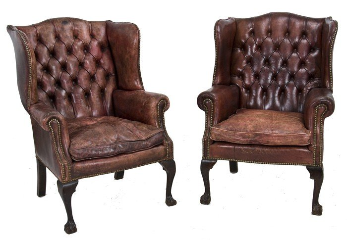 21: PAIR OF CHIPPENDALE STYLE  WING CHAIRS