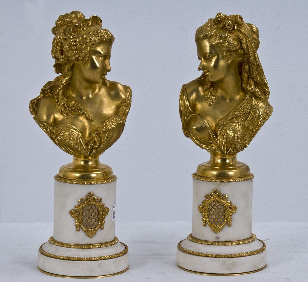 2: PAIR OF GILT BRONZE AND MARBLE BUSTS
