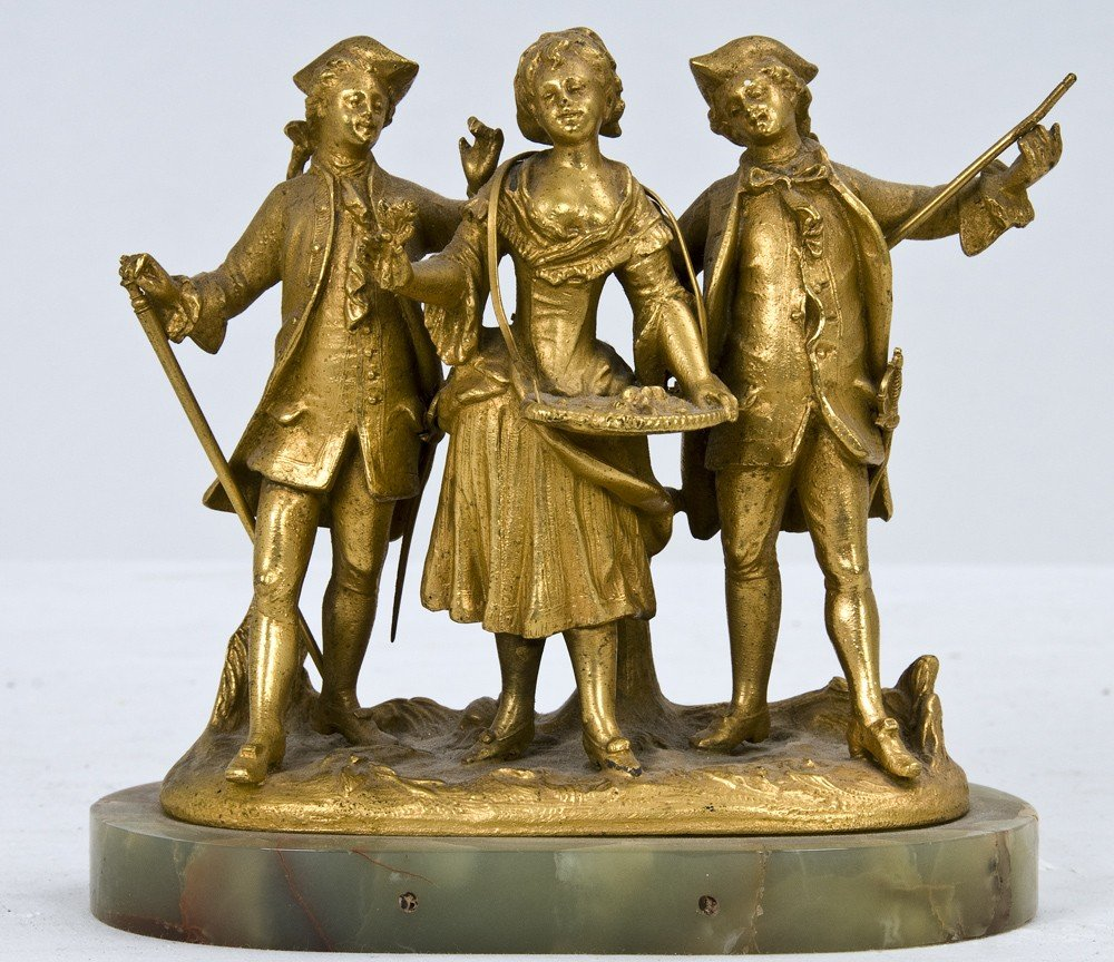 3: SMALL GILT BRONZE GROUP WITH THREE FIGURES