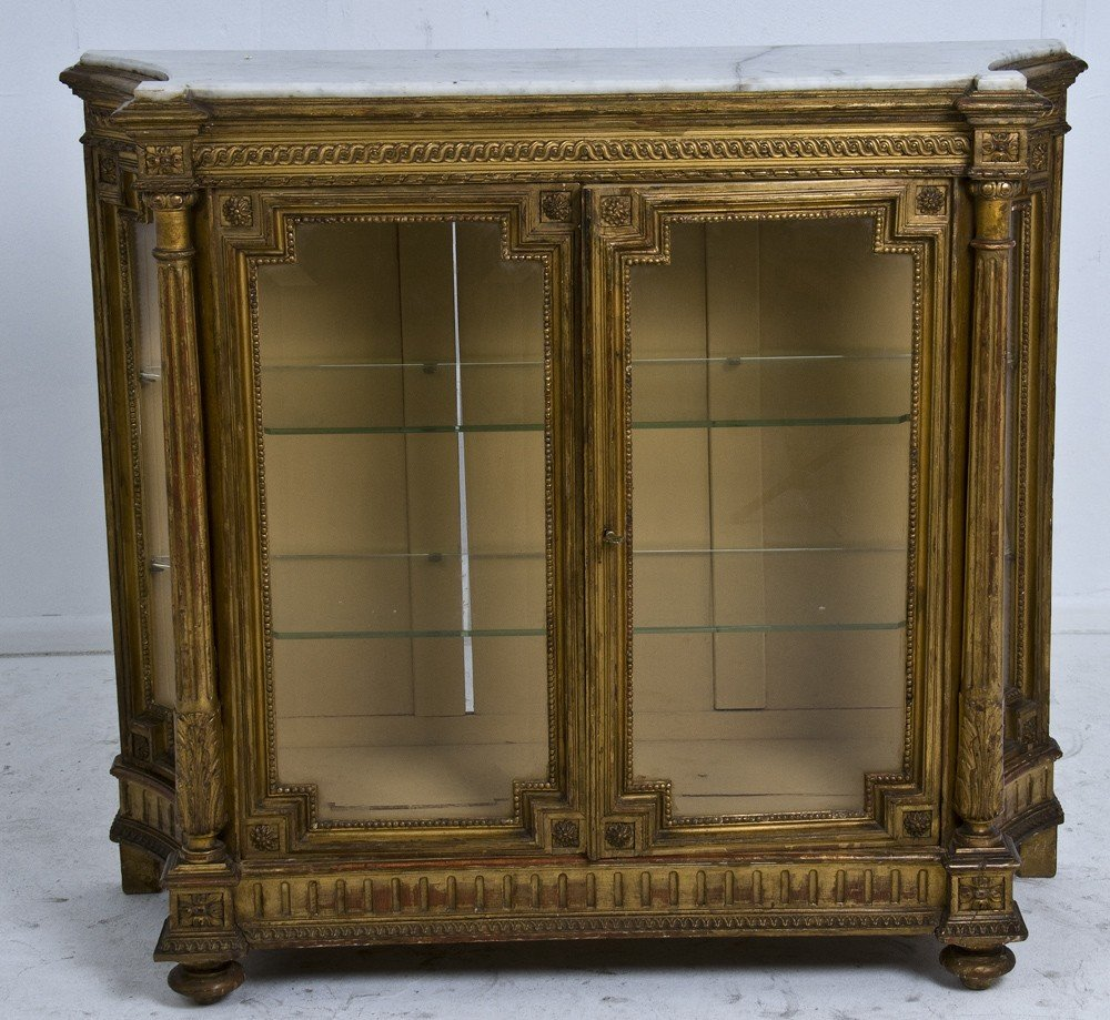 8: FRENCH CARVED AND GILTWOOD DISPLAY CABINET