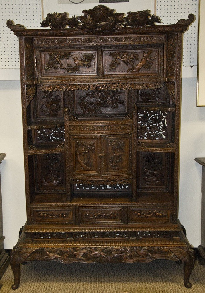 16: JAPANESE CARVED DISPLAY CABINET