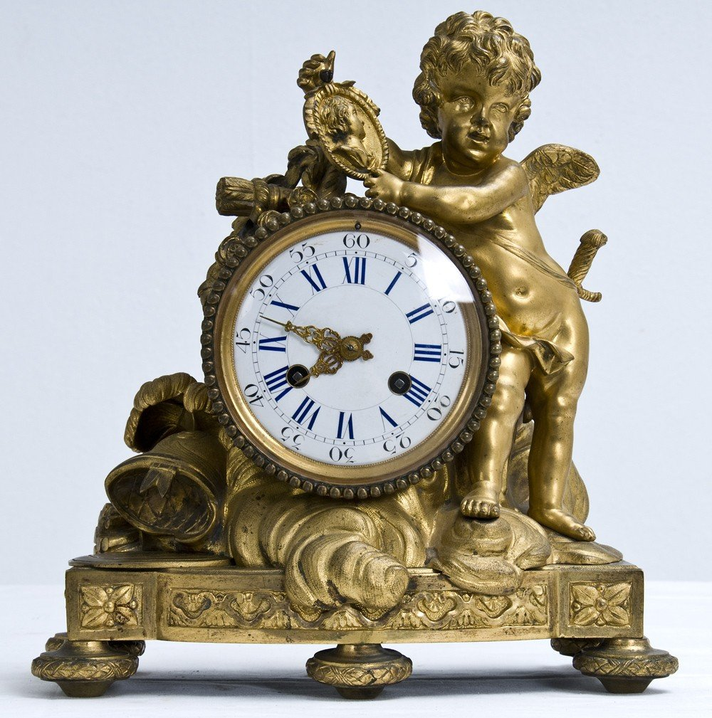 19: FRENCH GILT BRONZE FIGURAL MANTEL CLOCK