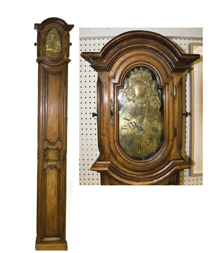 21: COUNTRY FRENCH WALNUT TALL CASE CLOCK