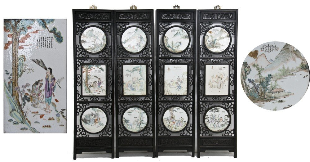 199: CHINESE FOUR-PANEL TILE INSET SCREEN