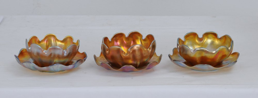 3: THREE ASSORTED TIFFANY FAVRILE FINGERBOWLS AND UNDER