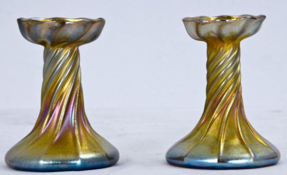 5: PAIR OF TIFFANY FAVRILE CANDLESTICKS