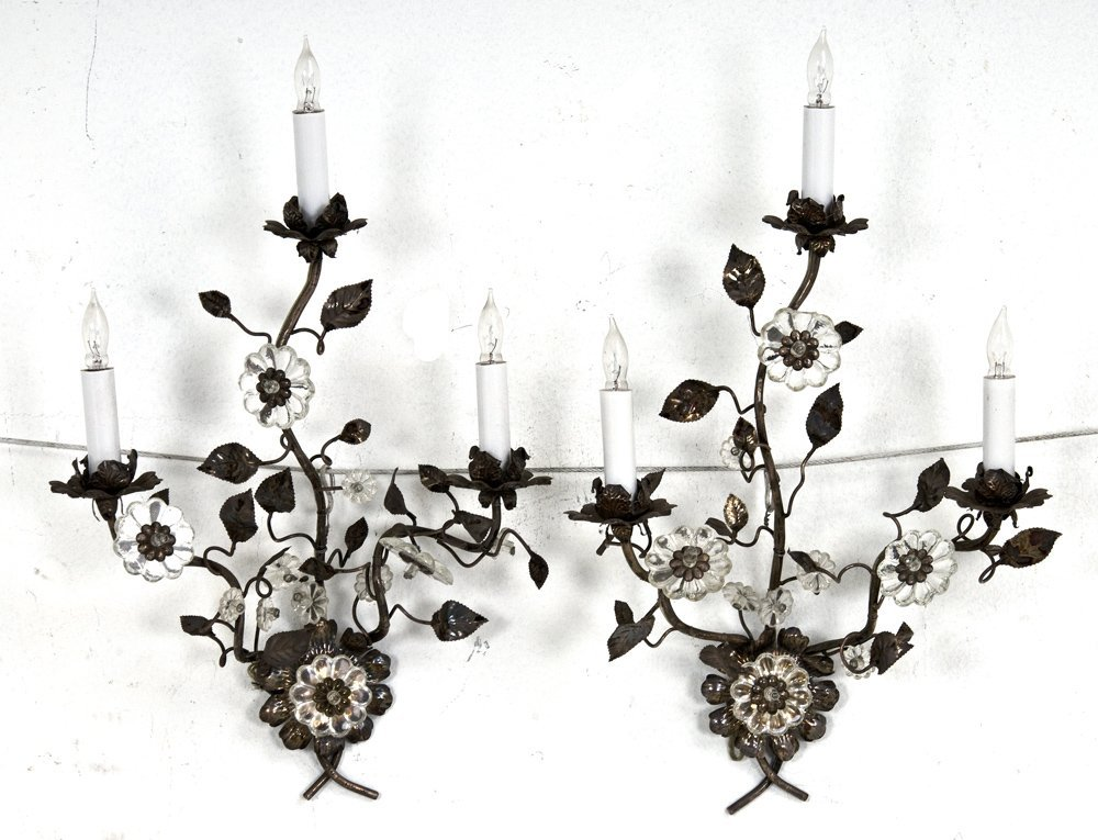 11: PAIR OF BAGUES SILVER AND CRYSTAL THREE-LIGHT SCONC