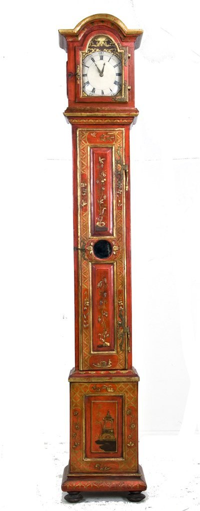 22: FRENCH CHINOISERIE LACQUERED TALL CASE CLOCK