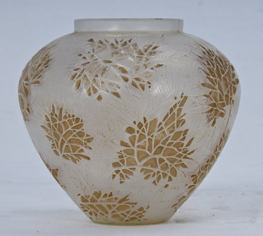 506: RENE LALIQUE MOLDED GLASS AND STAINED VASE