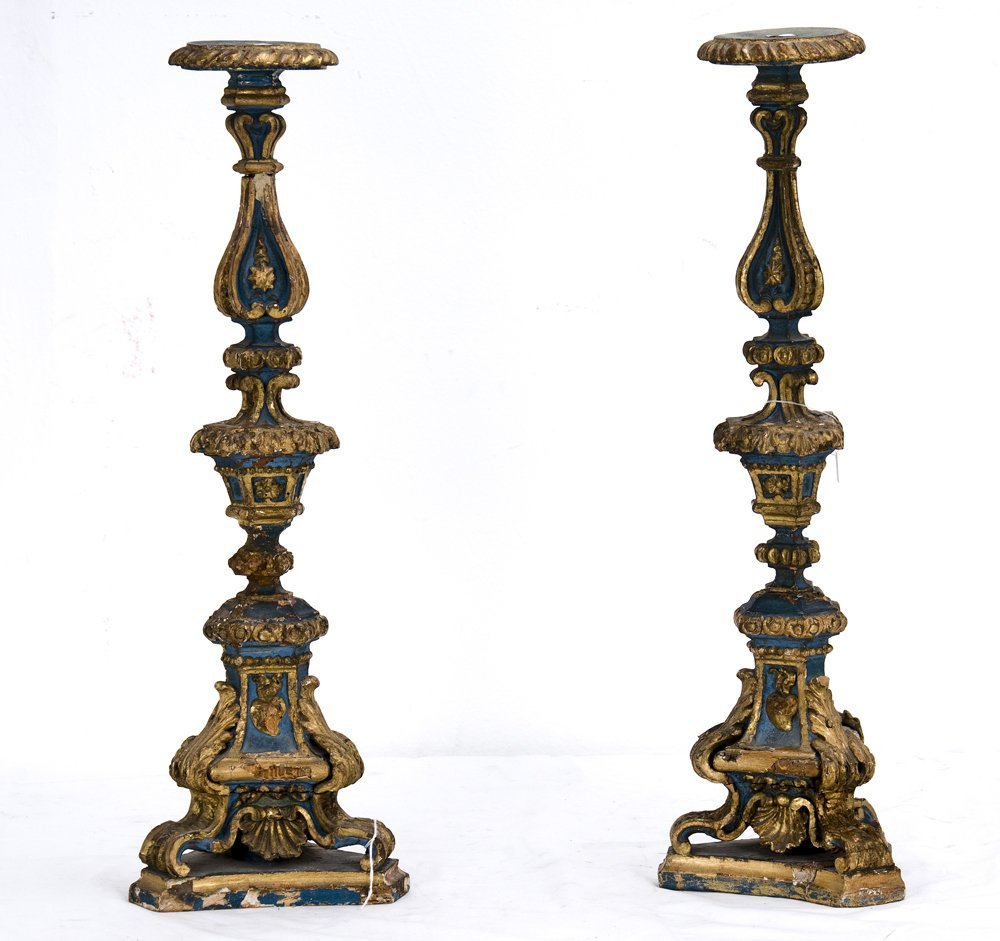 1: PAIR OF ITALIAN BAROQUE PAINTED ALTAR STICKS