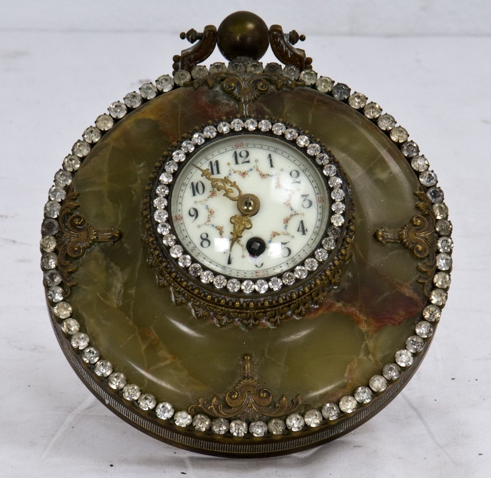 9: FRENCH ONYX AND JEWELED TABLE CLOCK