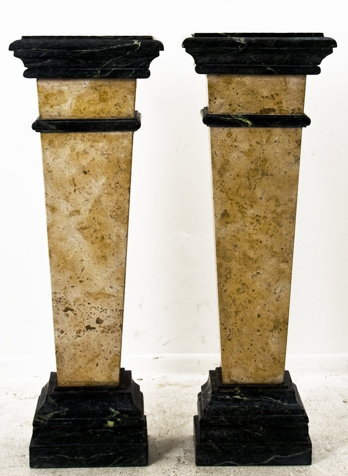 24: PAIR OF POLYCHROME MARBLE PEDESTALS