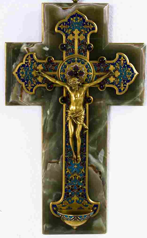 86: FRENCH GILT BRONZE AND CHAMPLEVE ENAMELED CRUCIFIX