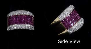 350 EIGHTEEN KARAT GOLD DIAMOND  RUBY COCKTAIL RING