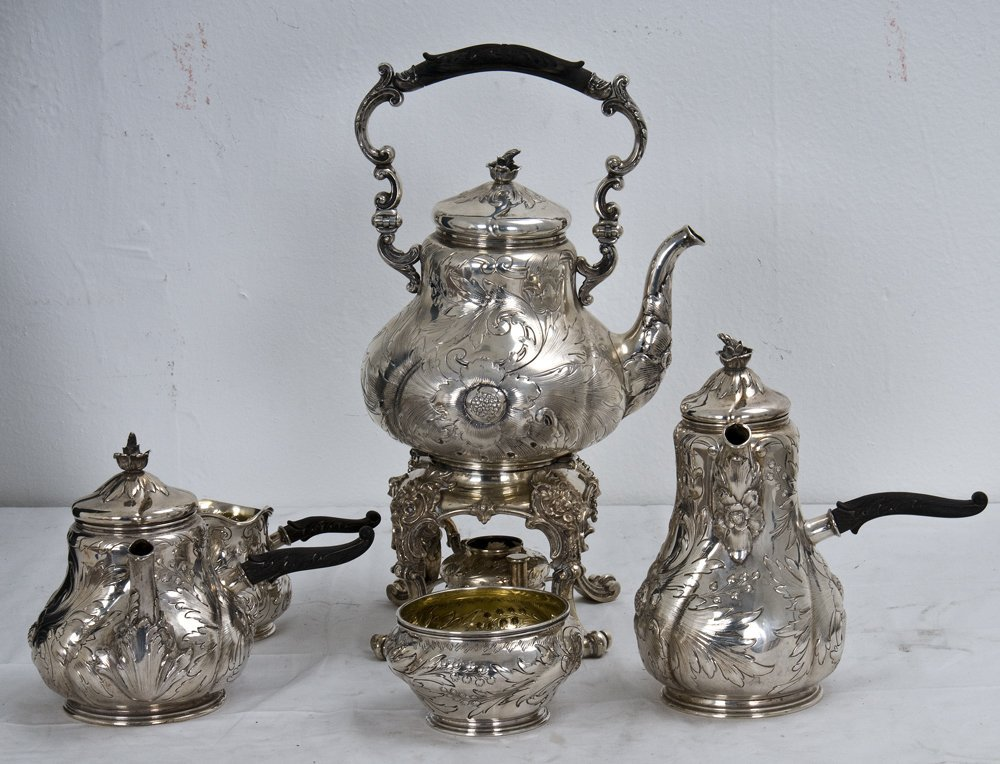 565: CONTINENTAL .800 SILVER COFFEE AND TEA SERVICE