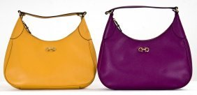 FERRAGAMO PURPLE AND YELLOW LEATHER HANDBAGS
