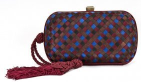 BOTTEGA VENETA MULTICOLOR WOVEN EVENING BAG