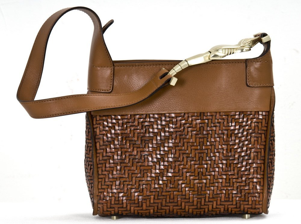 15: KIESELSTEIN-CORD BROWN WOVEN LEATHER SHOULDER BAG