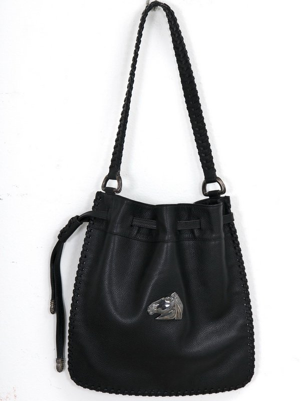 18: KIESELSTEIN-CORD LEATHER SATCHEL WITH SILVER HANDLE
