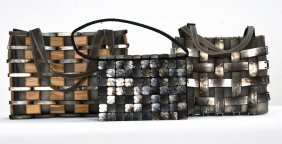 THREE BOTTEGA VENETA PLASTIC & WOOD HANDBAGS