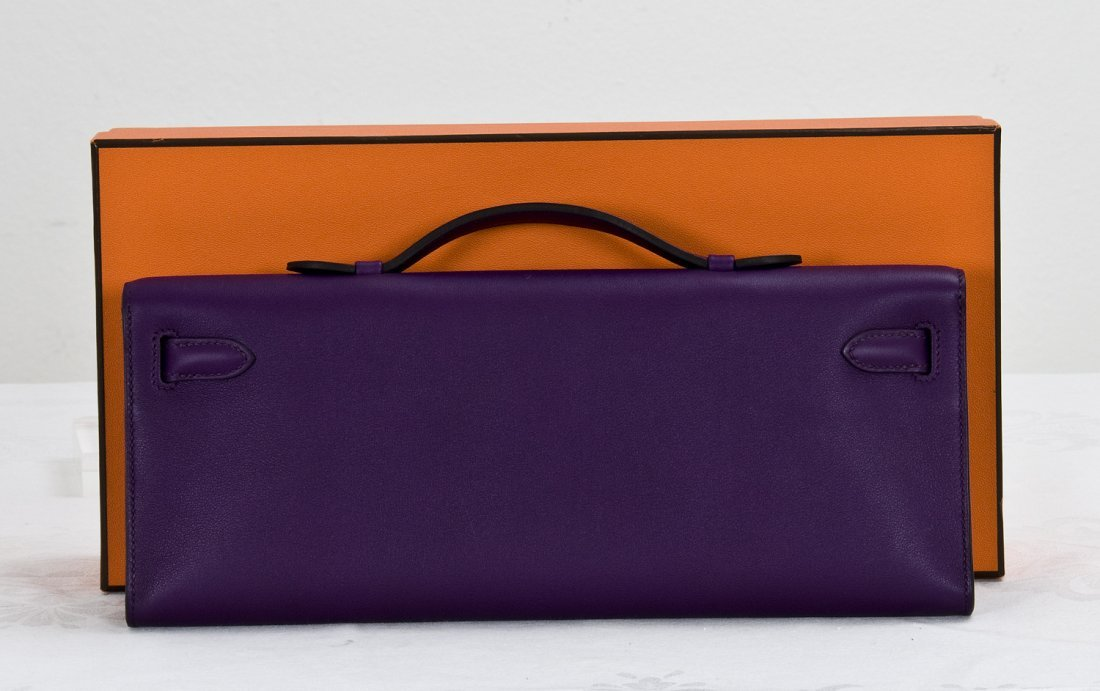 "96: HERMES PURPLE ""KELLY"" BAG CLUTCH - 2"