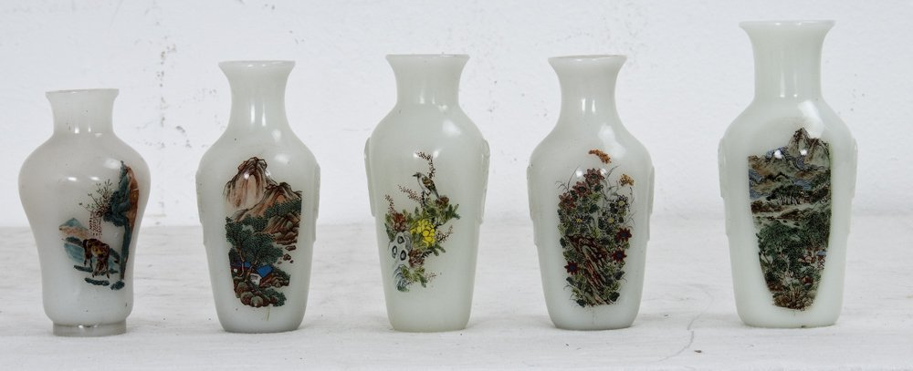 FIVE ASST. CHINESE REVERSE-PAINTED PEKING GLASS VASES