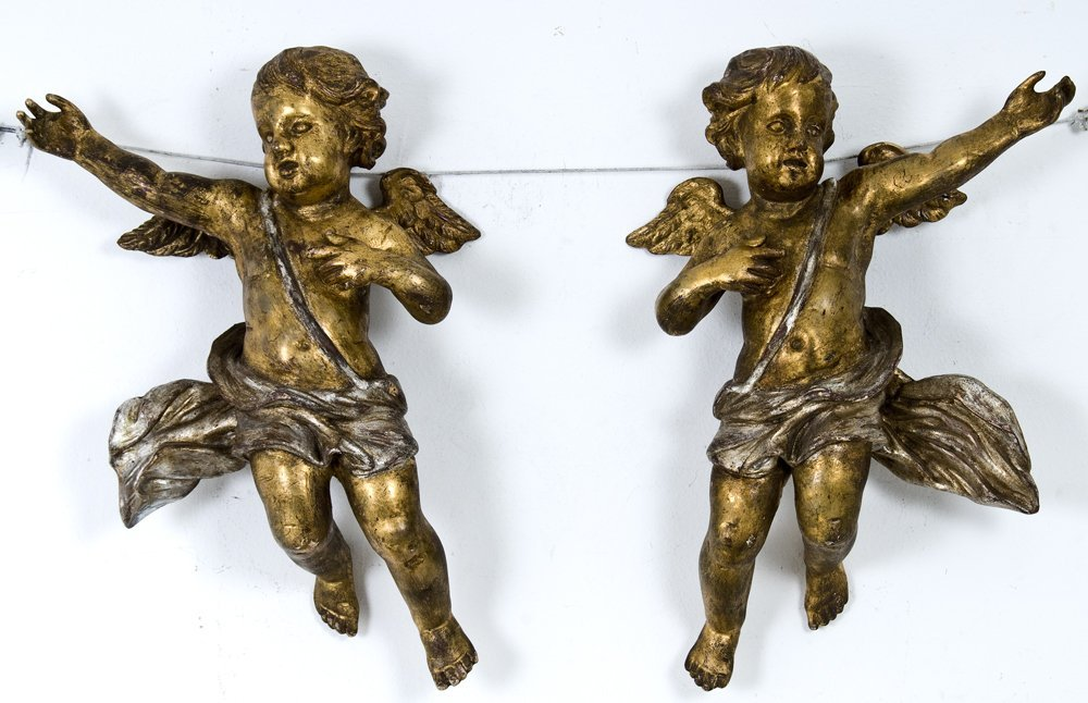 PAIR OF ITALIAN BAROQUE STYLE CARVED WOODEN CHERUBS