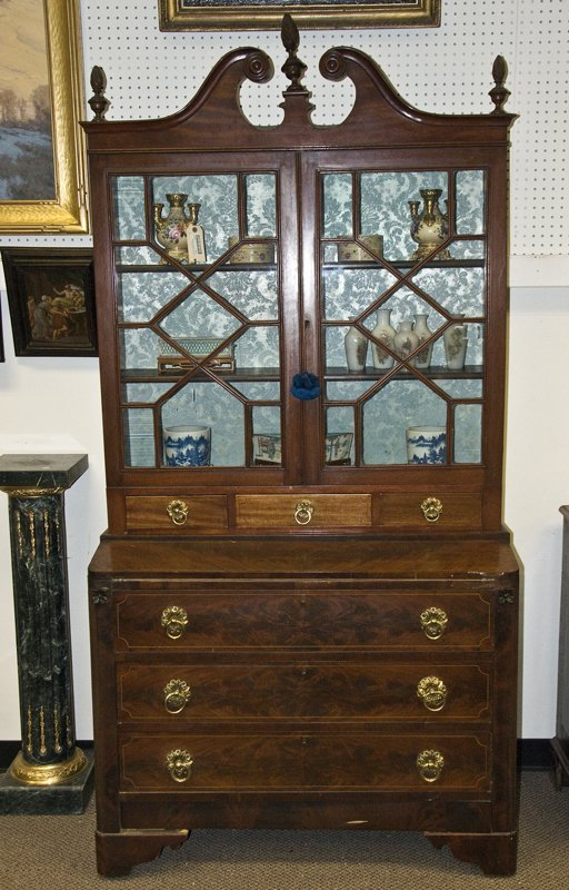 FEDERAL MAHOGANY SECRETAIRE BOOKCASE
