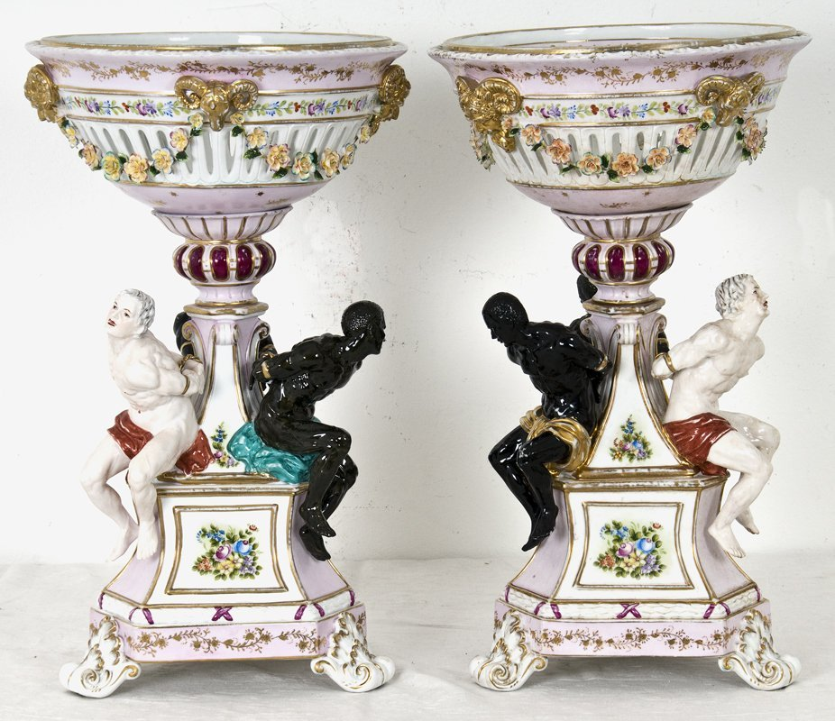PAIR OF GERMAN PORCELAIN FIGURAL COMPOTES
