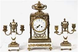 FRENCH GILT BRONZE & MARBLE 3 PIECE CLOCK GARNITURE