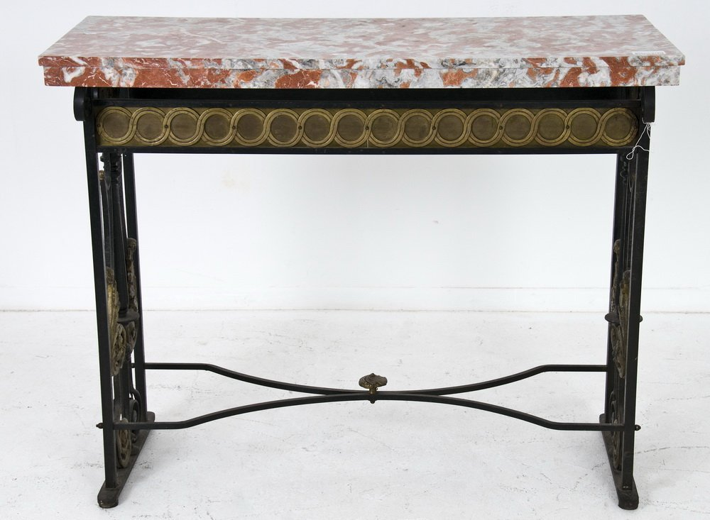 CONTINENTAL GILT-MOUNTED PAINTED WROUGHT-IRON CONSOLE T