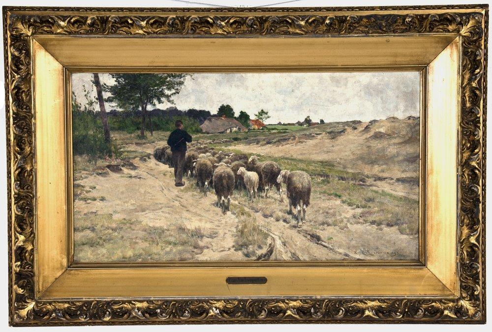 """FRANS VAN LEEMPUTTEN:  """"SHEPHERD WITH FLOCK"""""""