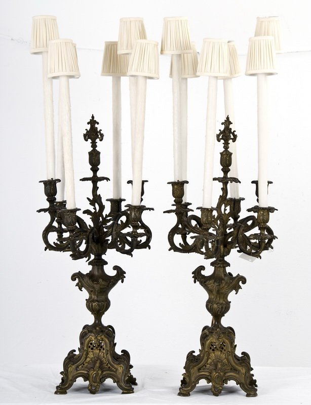 PAIR OF FRENCH ROCOCO-REVIVAL BRONZE 7 LIGHT CANDELABRA
