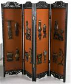 CHINESE CARVED AND LACQUERED FOUR-PANEL SCREEN
