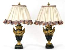 PAIR OF LOUIS XVI STYLE GILTBRONZE  MARBLE URNS