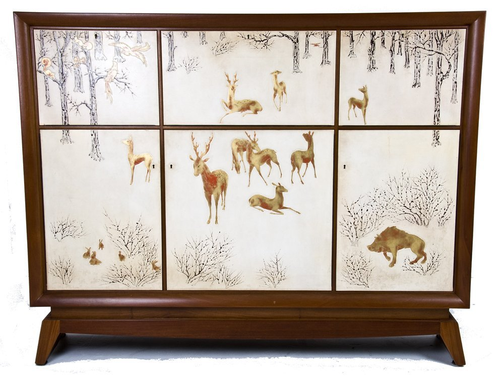 JORJ (GEORGES) RUAL:  DECO LACQUERED MAHOGANY CABINET