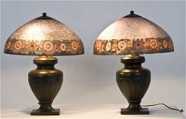 PAIR OF HANDEL REVERSE PAINTED TABLE LAMPS
