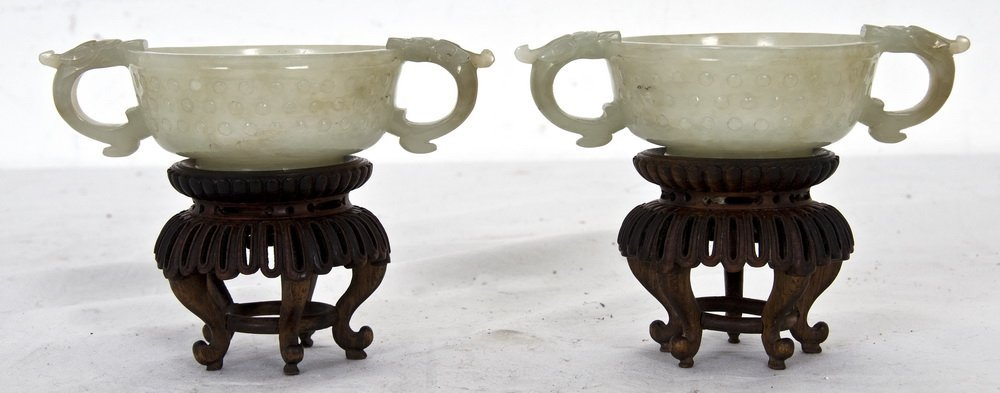 PAIR OF CHINESE CARVED JADE LIBATION CUPS