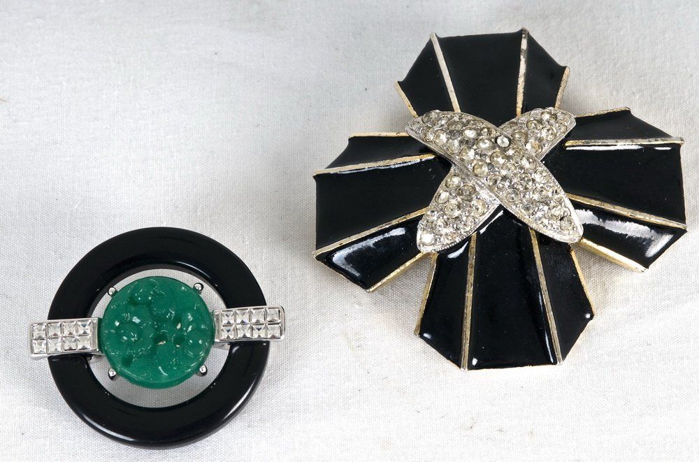 TWO KENNETH JAY LANE COSTUME JEWELRY PINS