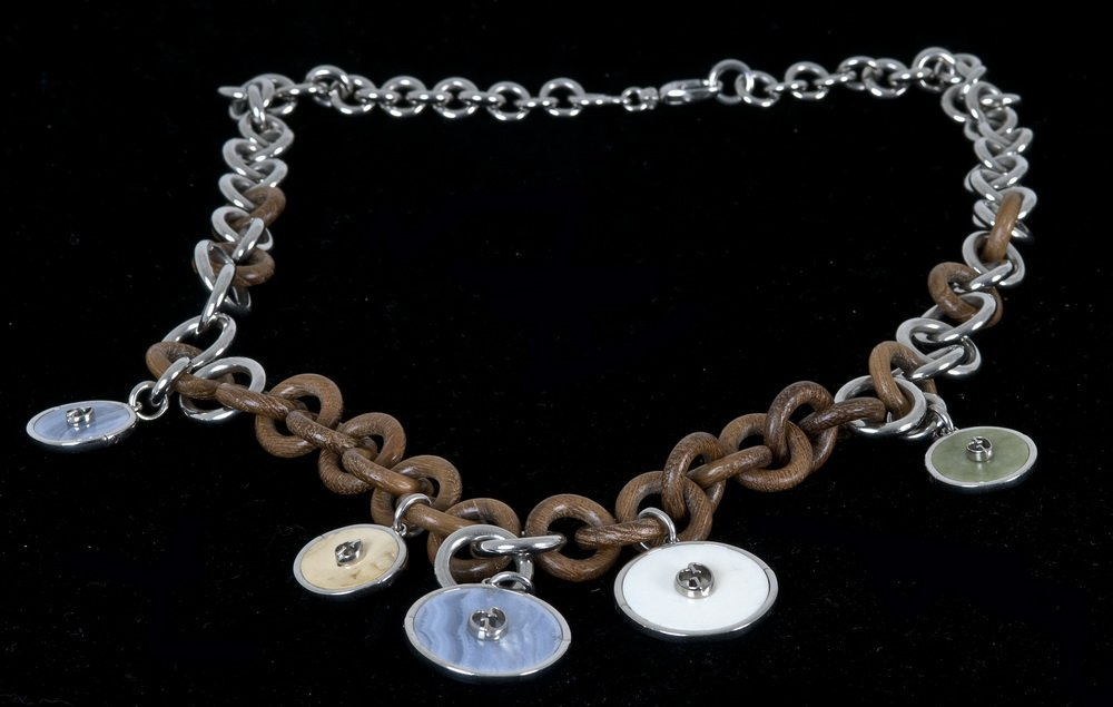 GUCCI SILVER & WOOD NECKLACE