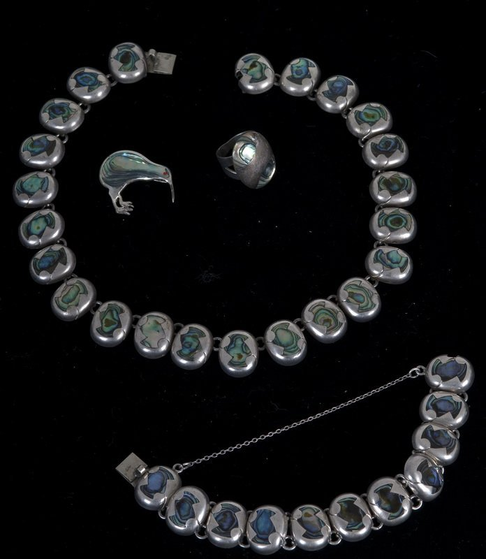 SUITE OF MEXICAN SILVER & ABALONE JEWELRY
