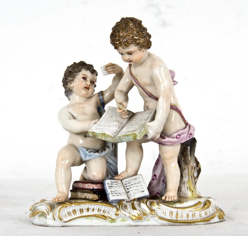 MEISSEN PORCELAIN ALLEGORICAL GROUP OF TWO PUTTI