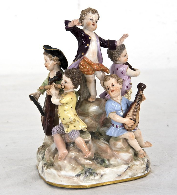 MEISSEN PORCELAIN GROUP OF YOUNG MUSICIANS