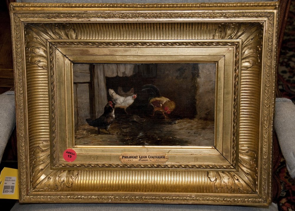 """PHILIBER LEON COUTURIER: """"BARNYARD SCENE WITH ROOSTERS"""""""