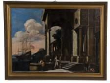 ITALIAN SCHOOL HARBOR SCENE