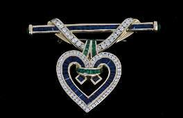 CHARLES KRYPELL 18K GOLD, SAPPHIRE, EMERALD & DIAMOND
